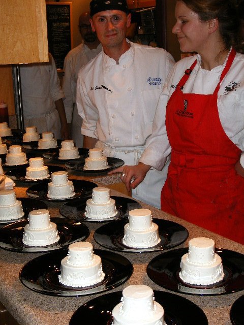 Each miniature wedding cake is two tiers of vanilla chiffon cake